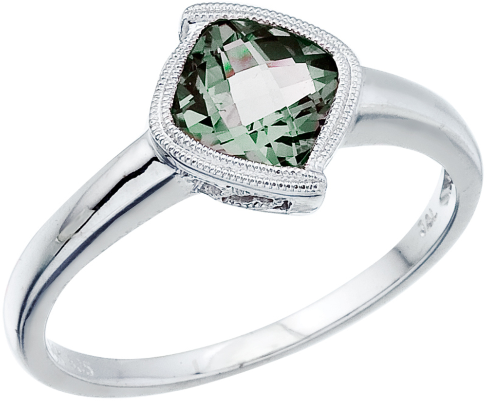 "14K White Gold 6 mm (1/4"") Cushion Green Amethyst Ring (CM-RM2842W-GA)"
