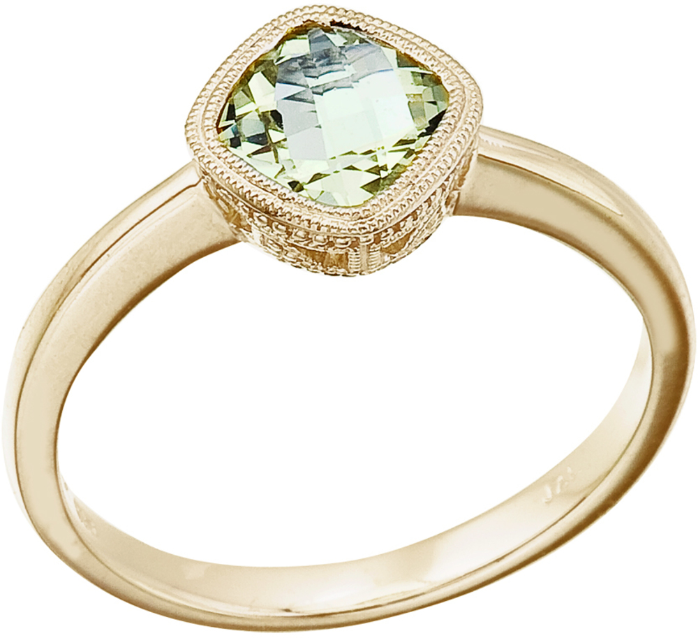 "14K Yellow Gold 6 mm (1/4"") Cushion Green Amethyst Ring (CM-RM2844-GA)"