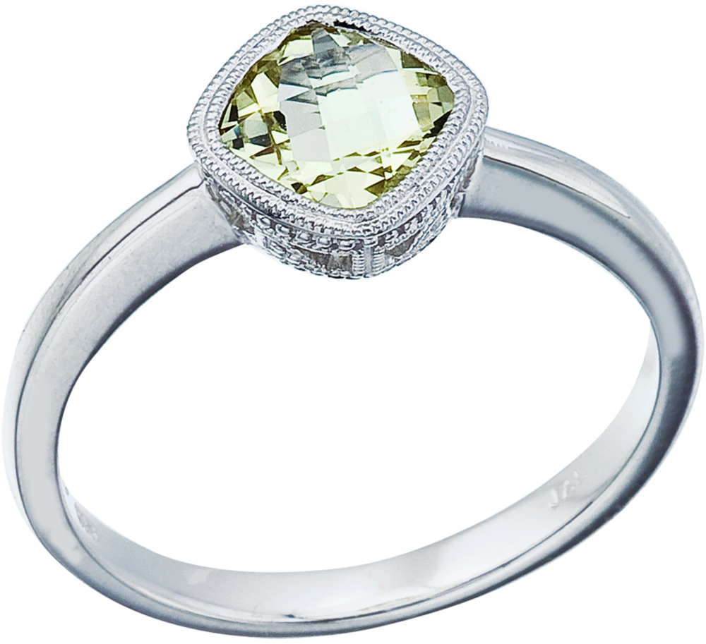 "14K White Gold 6 mm (1/4"") Cushion Green Amethyst Ring (CM-RM2844W-GA)"