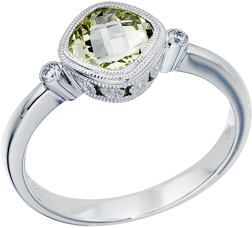 "14K White Gold 6 mm (1/4"") Cushion Green Amethyst and Diamond Bezel Ring (CM-RM2853W-GA)"