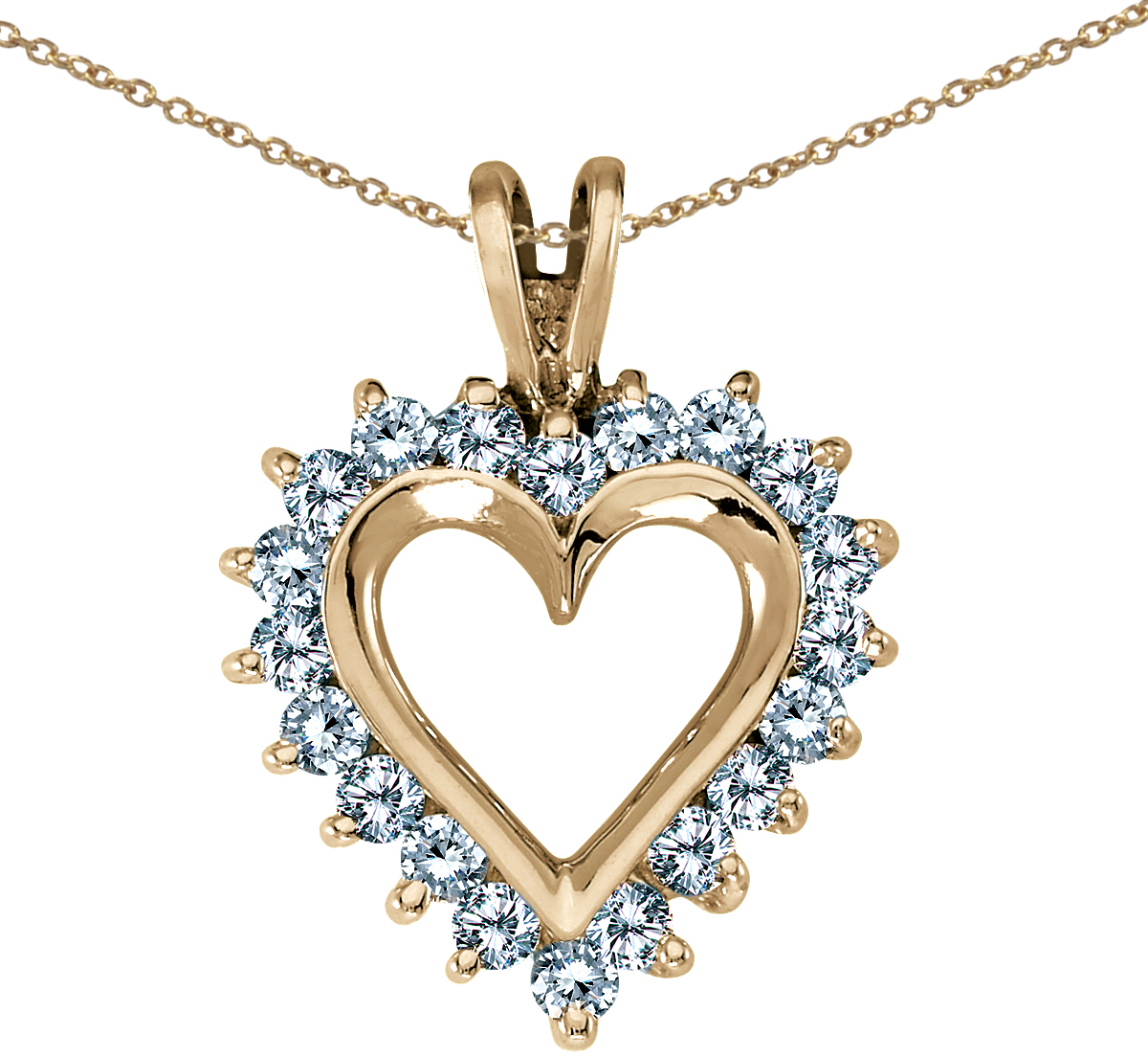 14K Yellow Gold Diamond Heart Pendant (Chain NOT included) (CM-RM386P)
