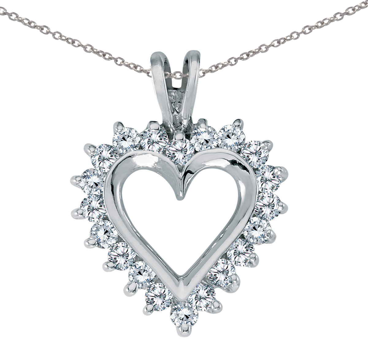 14K White Gold Diamond Heart Pendant (Chain NOT included) (CM-RM386PW)