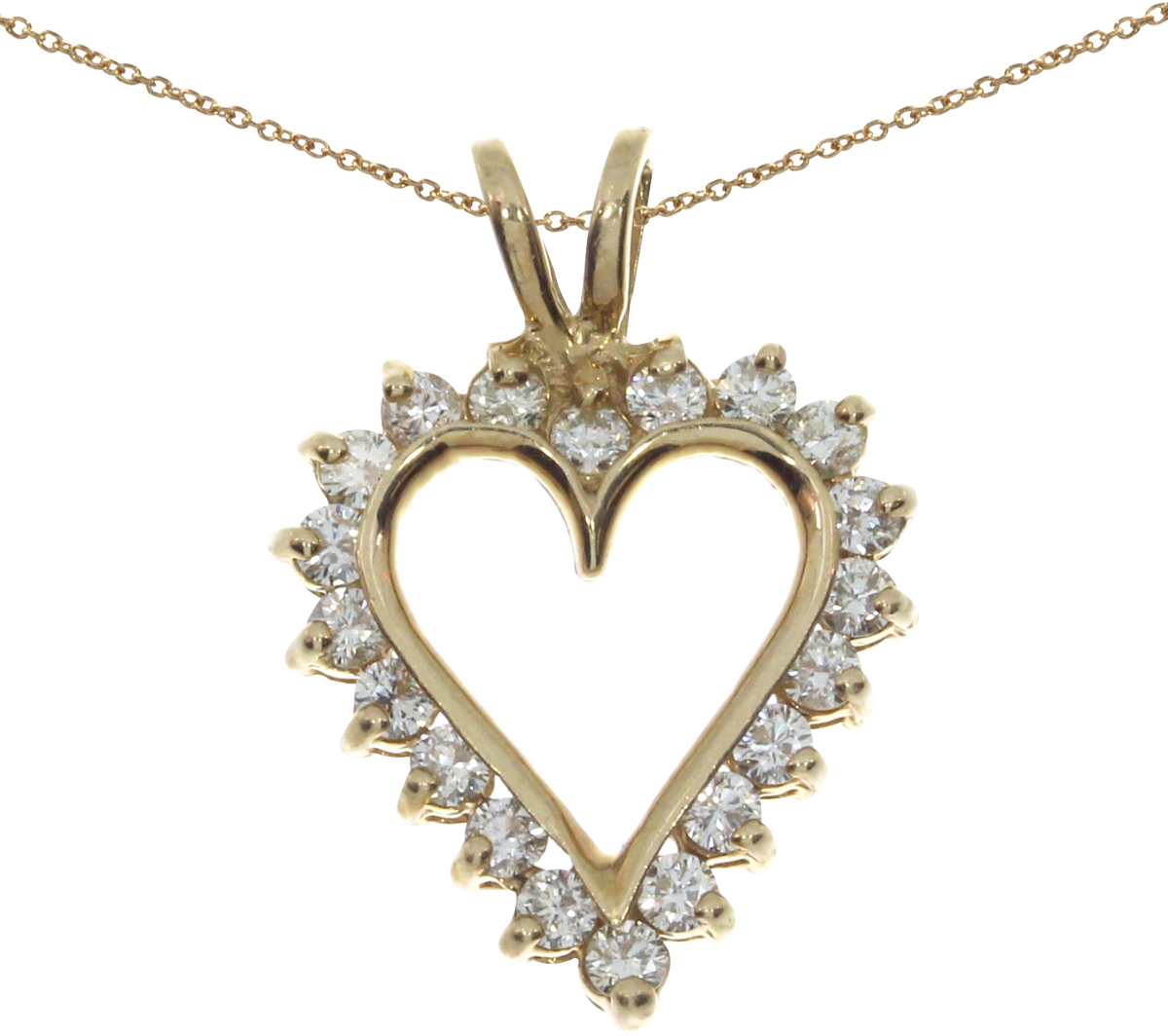 14K Yellow Gold Diamond Heart Pendant (Chain NOT included)