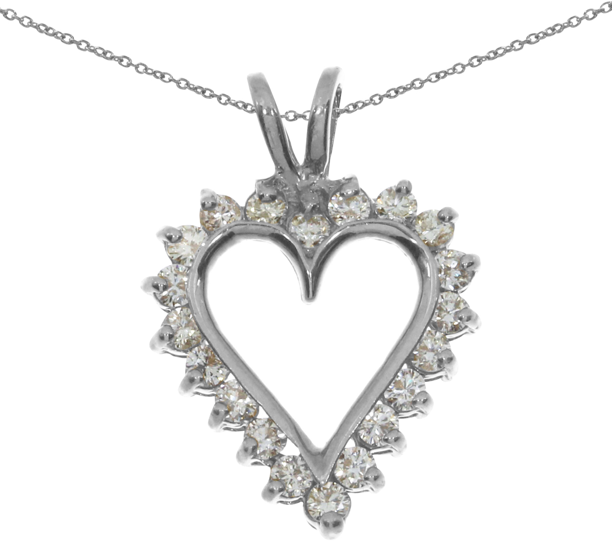 14K White Gold Diamond Heart Pendant (Chain NOT included) (CM-RM556PW)