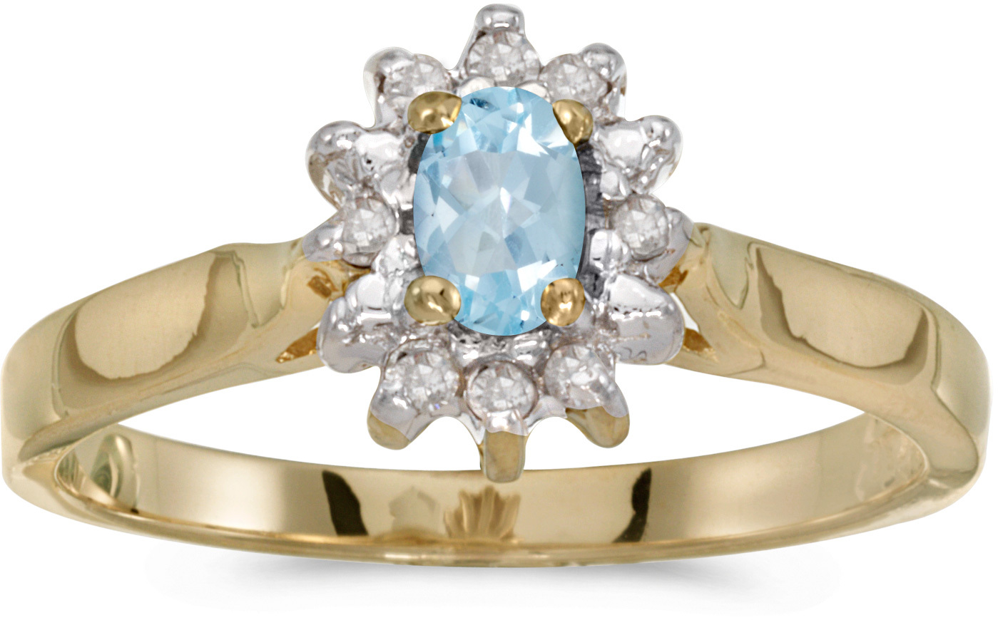 10k Yellow Gold Oval Aquamarine And Diamond Ring (CM-RM6410-03)