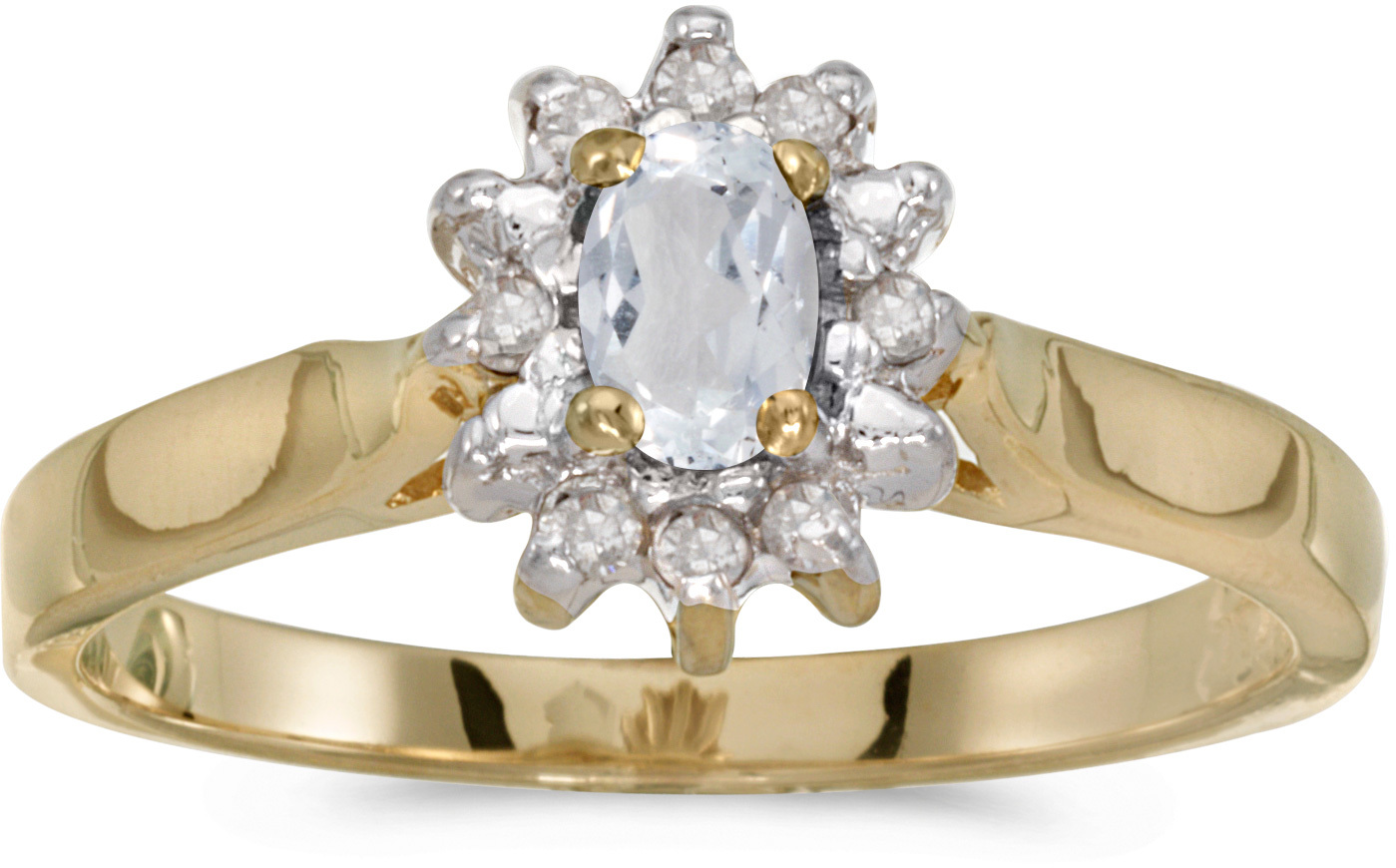 10k Yellow Gold Oval White Topaz And Diamond Ring (CM-RM6410-04)