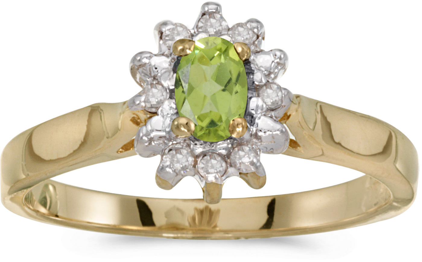10k Yellow Gold Oval Peridot And Diamond Ring (CM-RM6410-08)