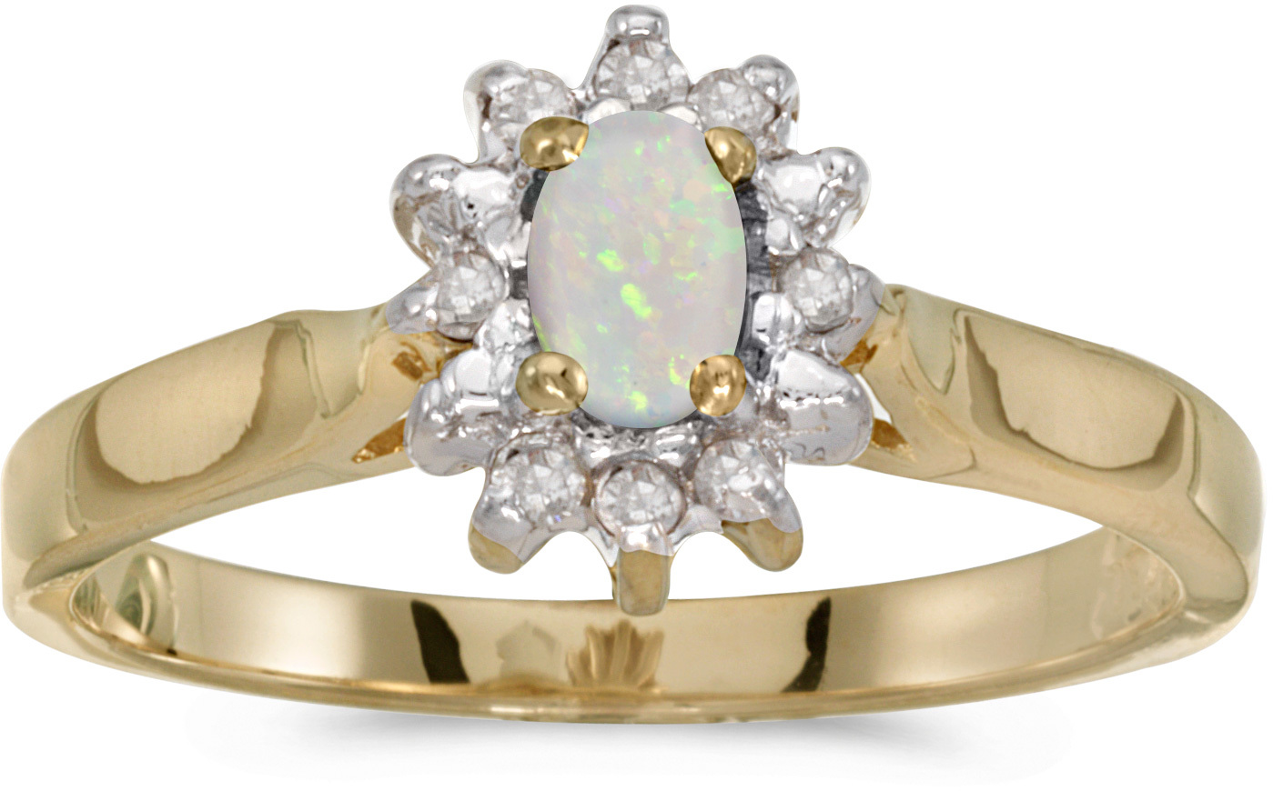 10k Yellow Gold Oval Opal And Diamond Ring (CM-RM6410-10)