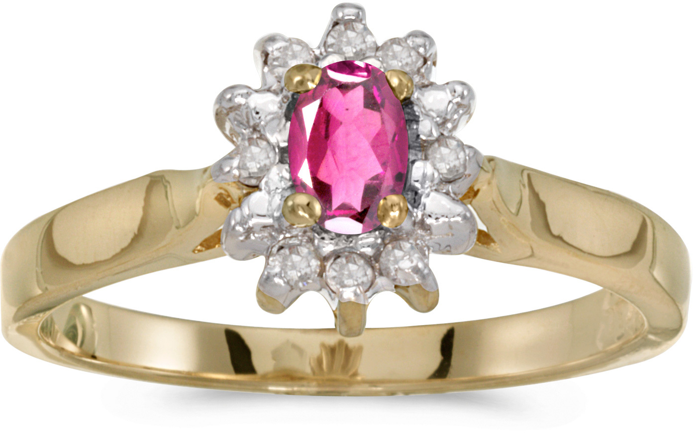10k Yellow Gold Oval Pink Topaz And Diamond Ring (CM-RM6410-PT)