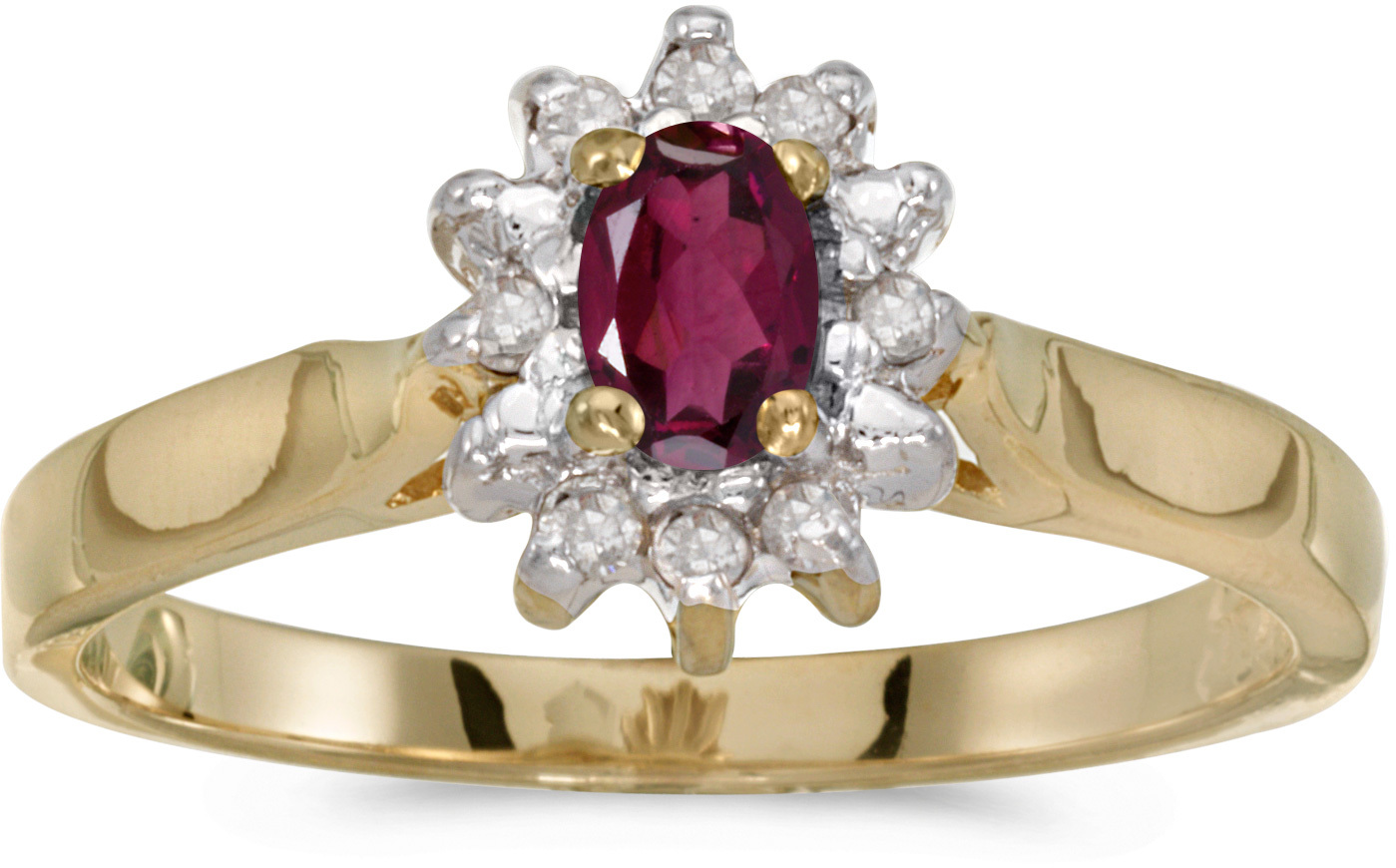 10k Yellow Gold Oval Rhodolite Garnet And Diamond Ring (CM-RM6410-RG)