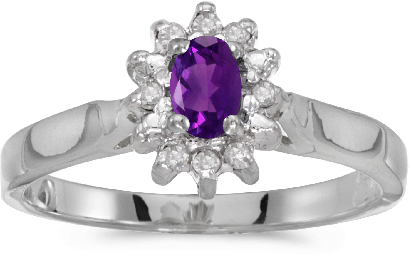 10k White Gold Oval Amethyst And Diamond Ring (CM-RM6410W-02)
