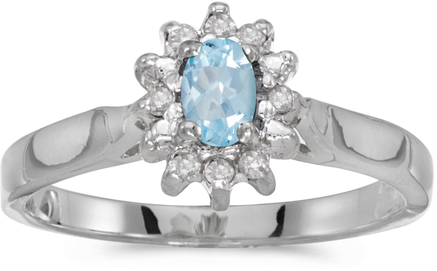 10k White Gold Oval Aquamarine And Diamond Ring (CM-RM6410W-03)