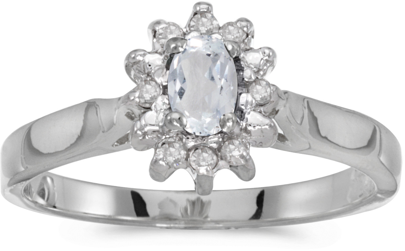 10k White Gold Oval White Topaz And Diamond Ring (CM-RM6410W-04)