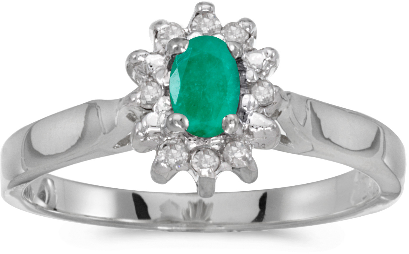 10k White Gold Oval Emerald And Diamond Ring (CM-RM6410W-05)