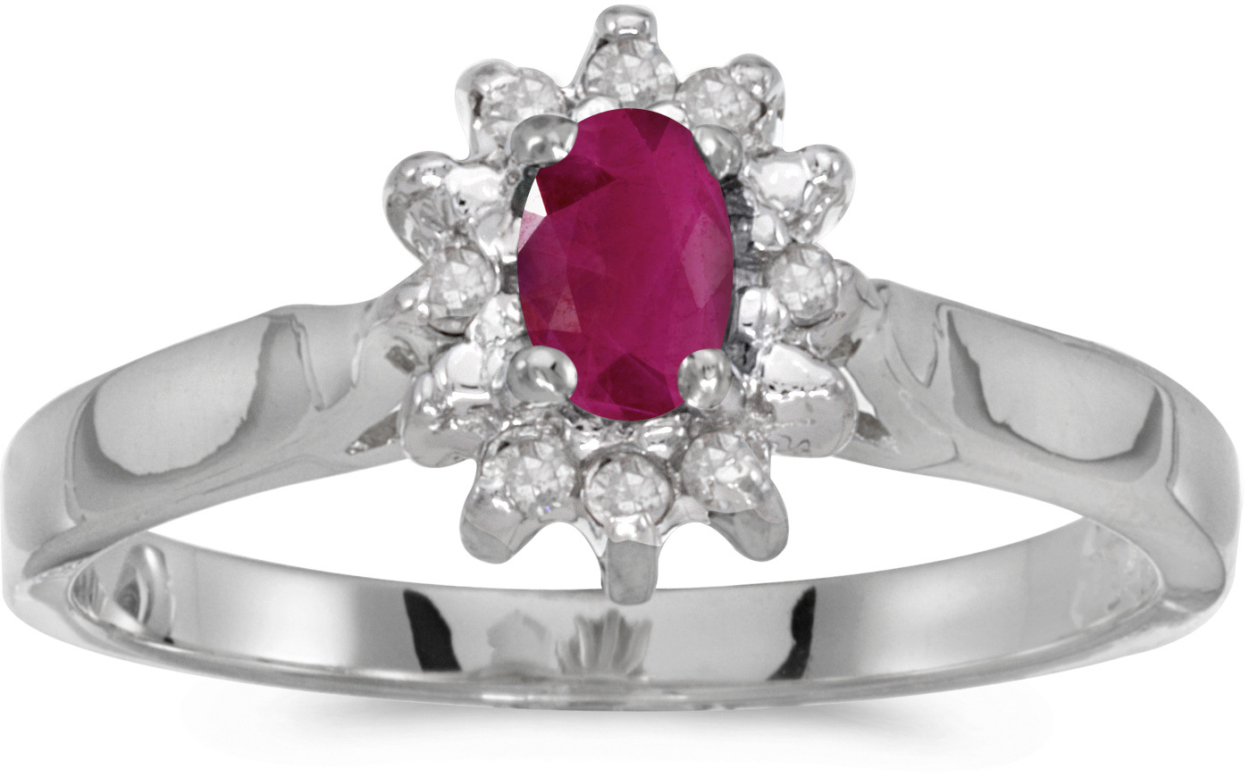 10k White Gold Oval Ruby And Diamond Ring (CM-RM6410W-07)