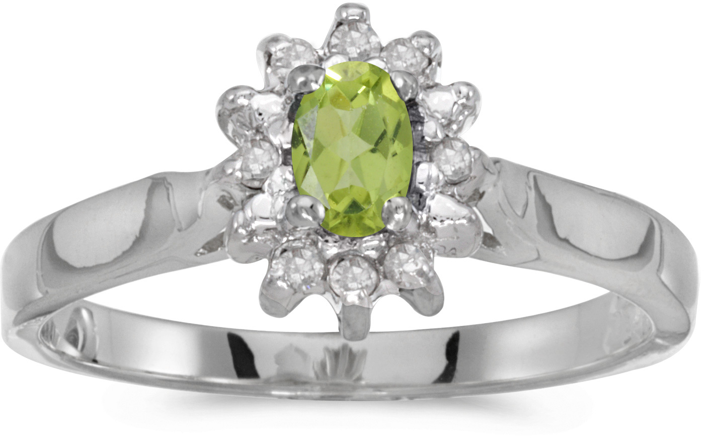 10k White Gold Oval Peridot And Diamond Ring (CM-RM6410W-08)