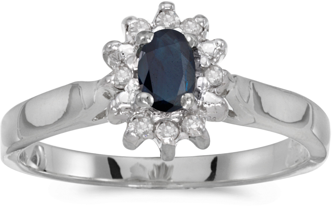 10k White Gold Oval Sapphire And Diamond Ring (CM-RM6410W-09)