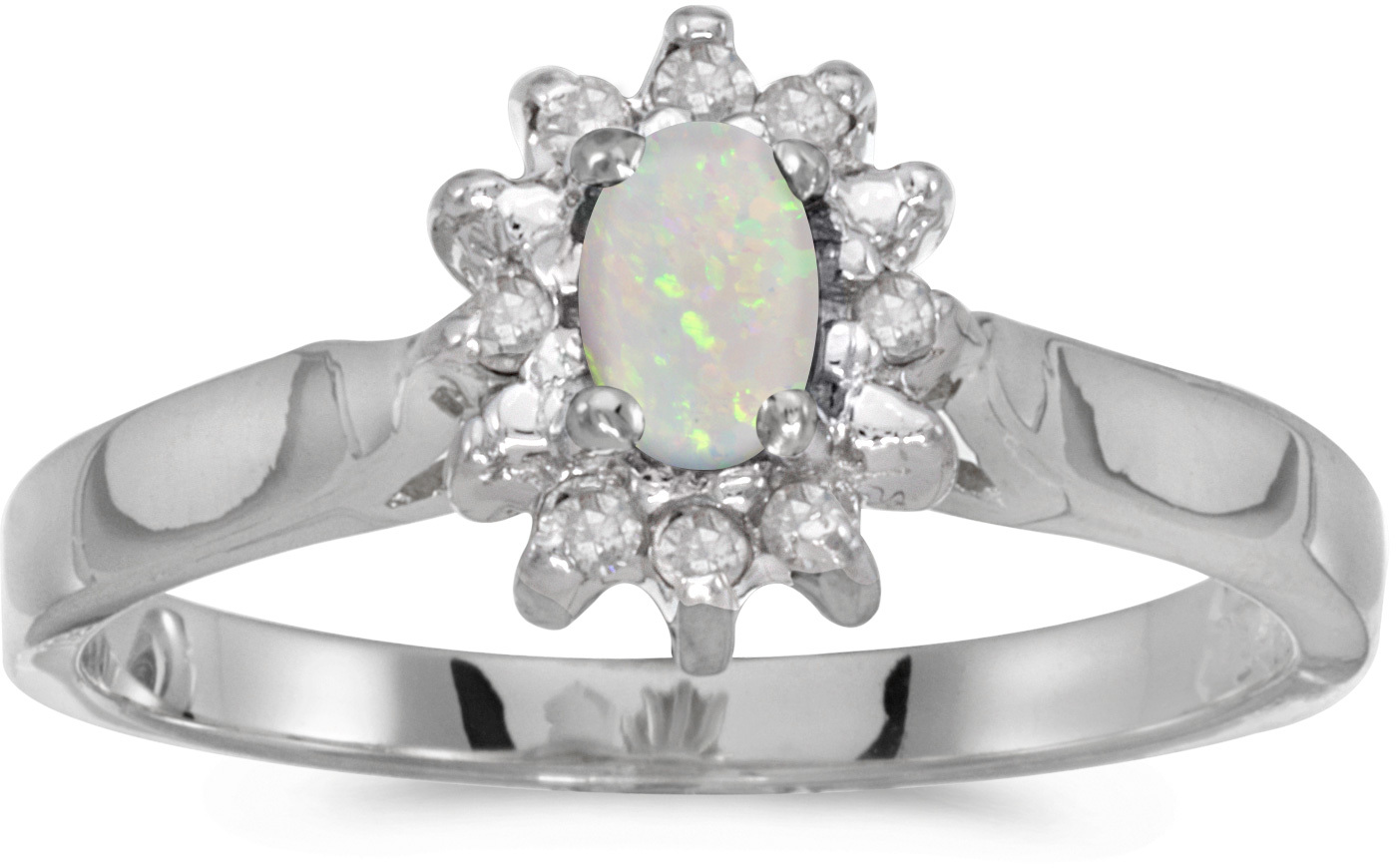 10k White Gold Oval Opal And Diamond Ring (CM-RM6410W-10)