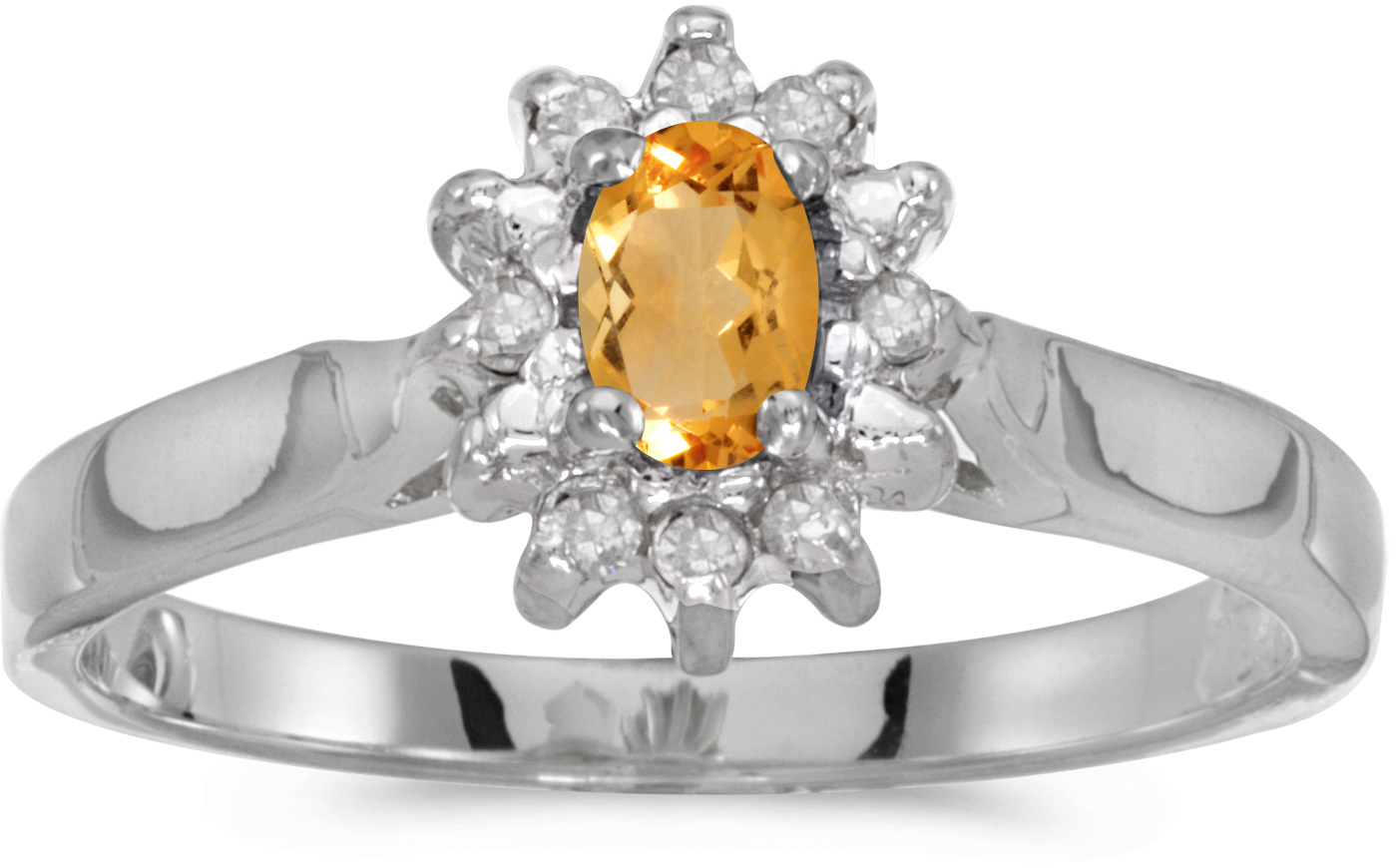 10k White Gold Oval Citrine And Diamond Ring (CM-RM6410W-11)