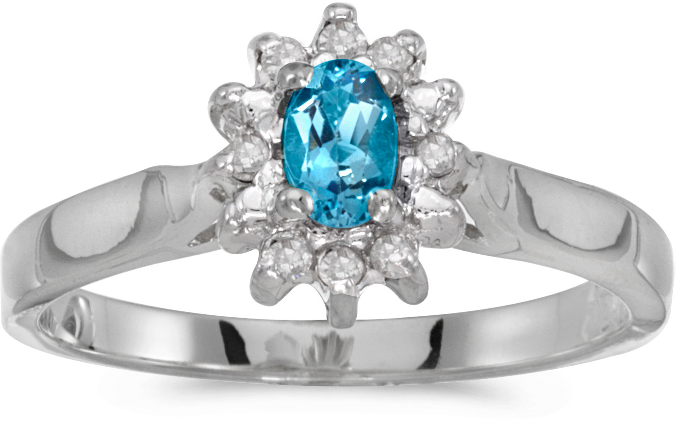 10k White Gold Oval Blue Topaz And Diamond Ring (CM-RM6410W-12)