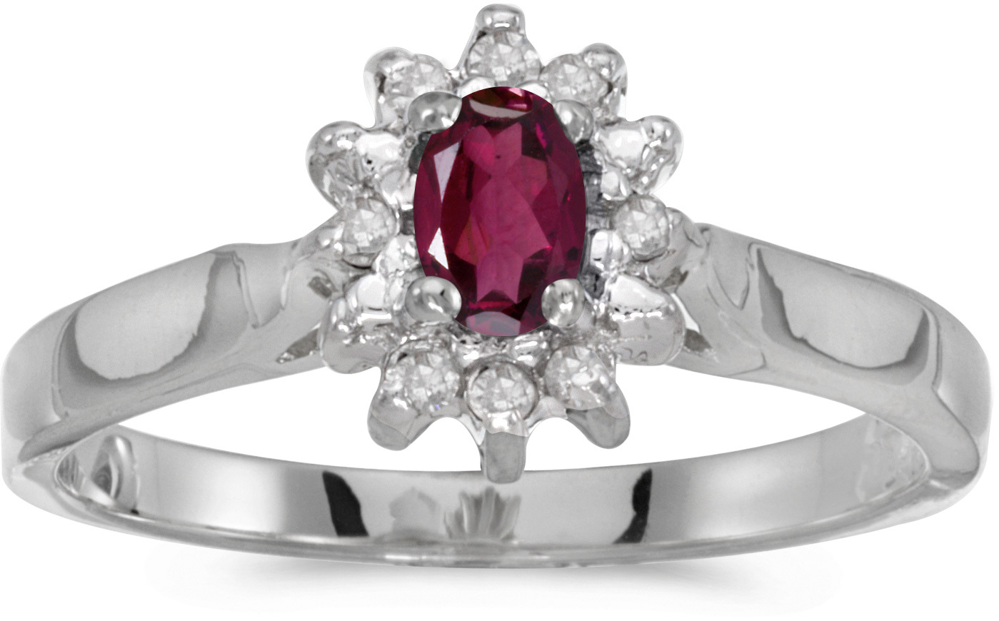 10k White Gold Oval Rhodolite Garnet And Diamond Ring (CM-RM6410W-RG)