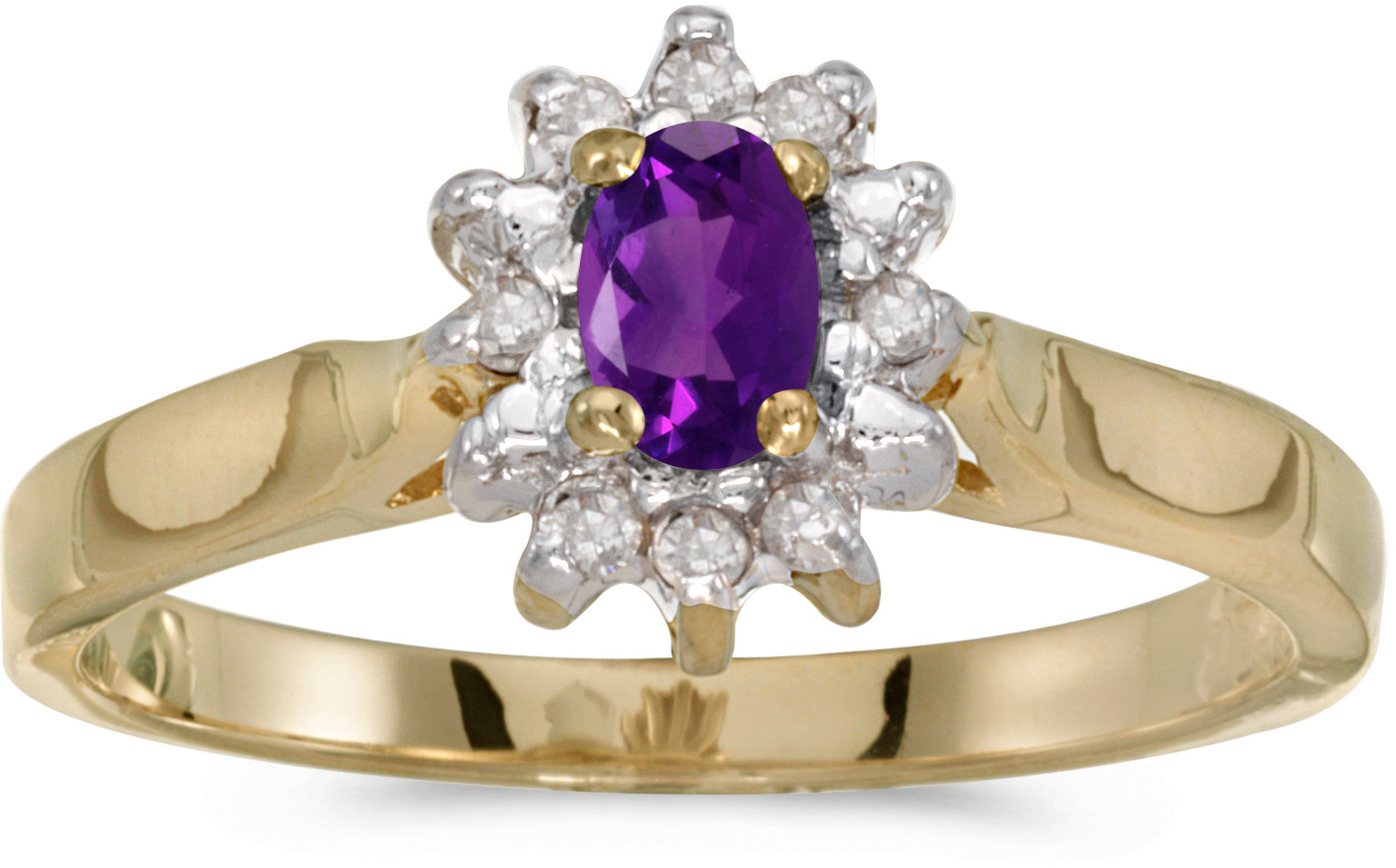 14k Yellow Gold Oval Amethyst And Diamond Ring (CM-RM6410X-02)