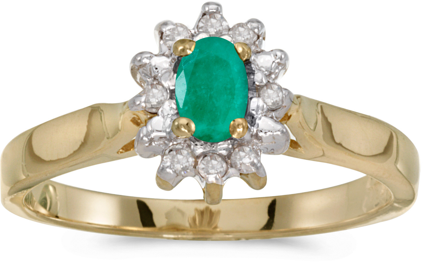 14k Yellow Gold Oval Emerald And Diamond Ring (CM-RM6410X-05)