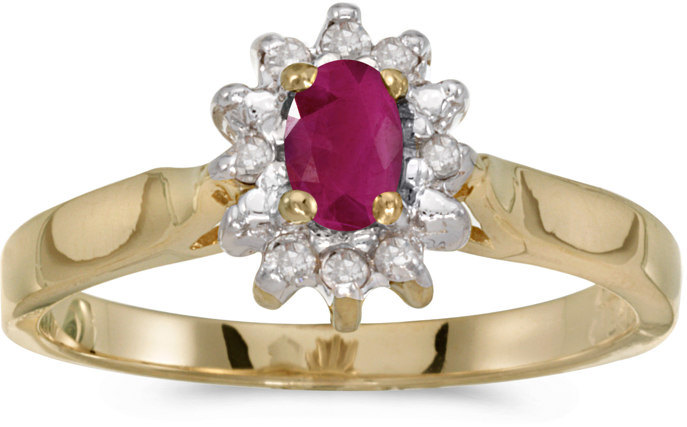 14k Yellow Gold Oval Ruby And Diamond Ring (CM-RM6410X-07)