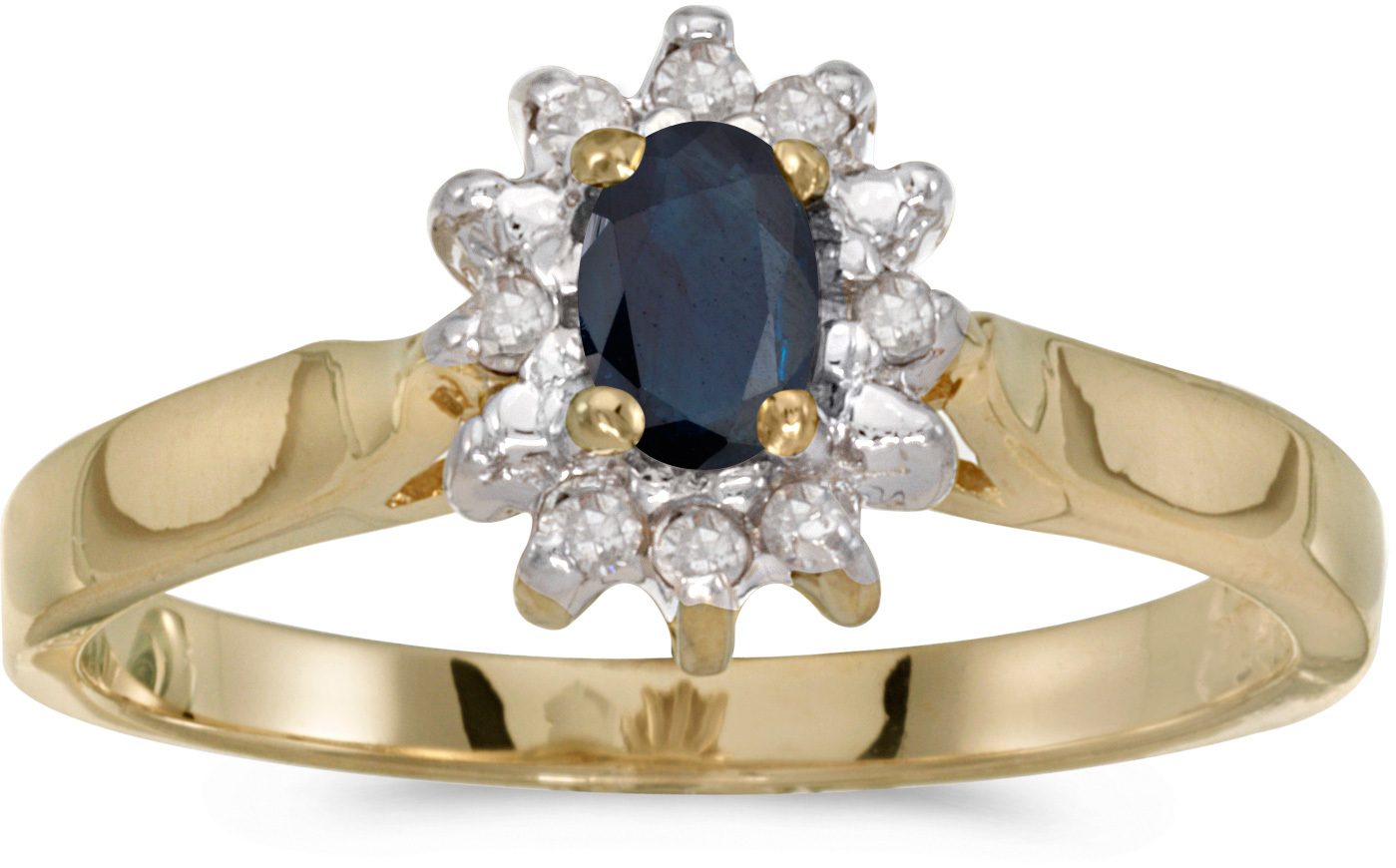 14k Yellow Gold Oval Sapphire And Diamond Ring (CM-RM6410X-09)