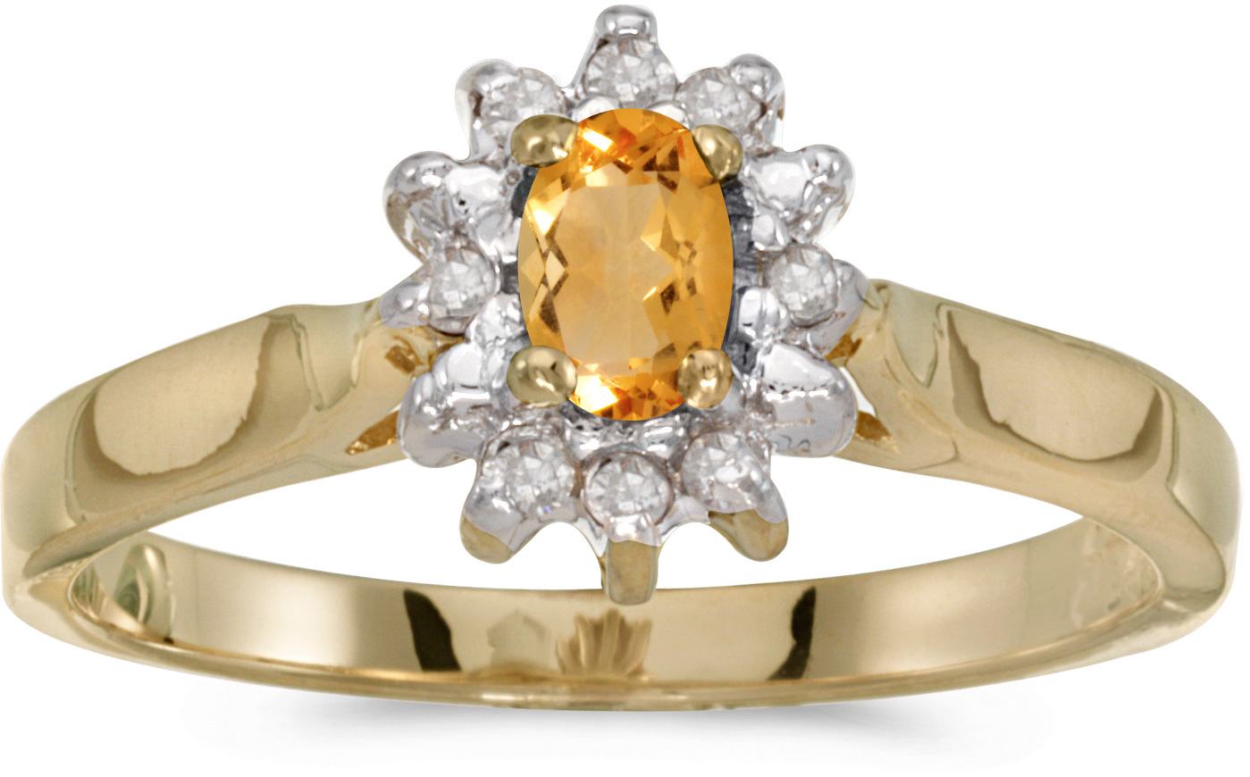 14k Yellow Gold Oval Citrine And Diamond Ring (CM-RM6410X-11)