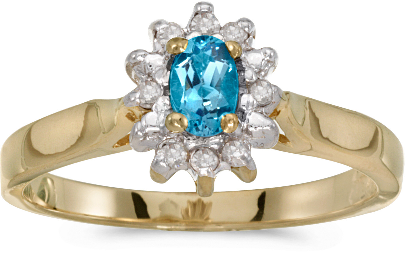 14k Yellow Gold Oval Blue Topaz And Diamond Ring (CM-RM6410X-12)