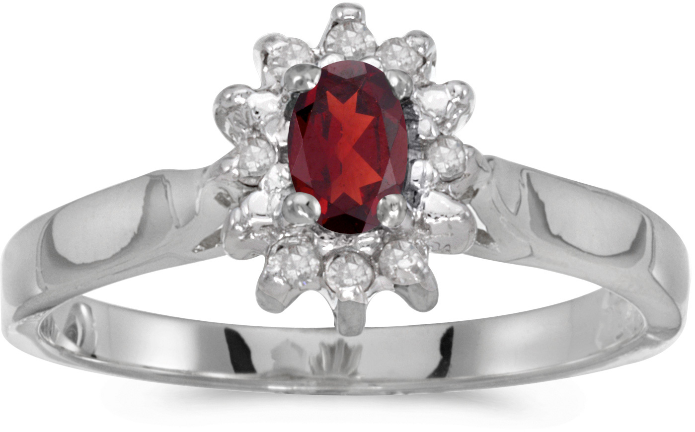 14k White Gold Oval Garnet And Diamond Ring (CM-RM6410XW-01)