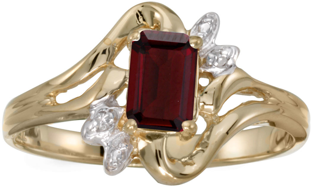 10k Yellow Gold Emerald-cut Garnet And Diamond Ring (CM-RM6564-01)