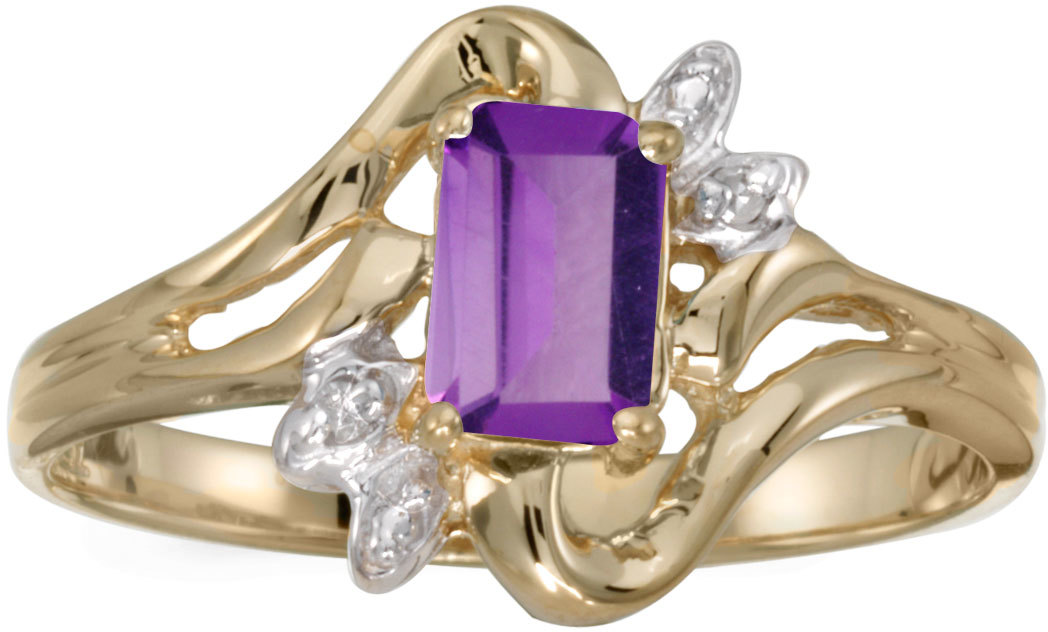 10k Yellow Gold Emerald-cut Amethyst And Diamond Ring (CM-RM6564-02)