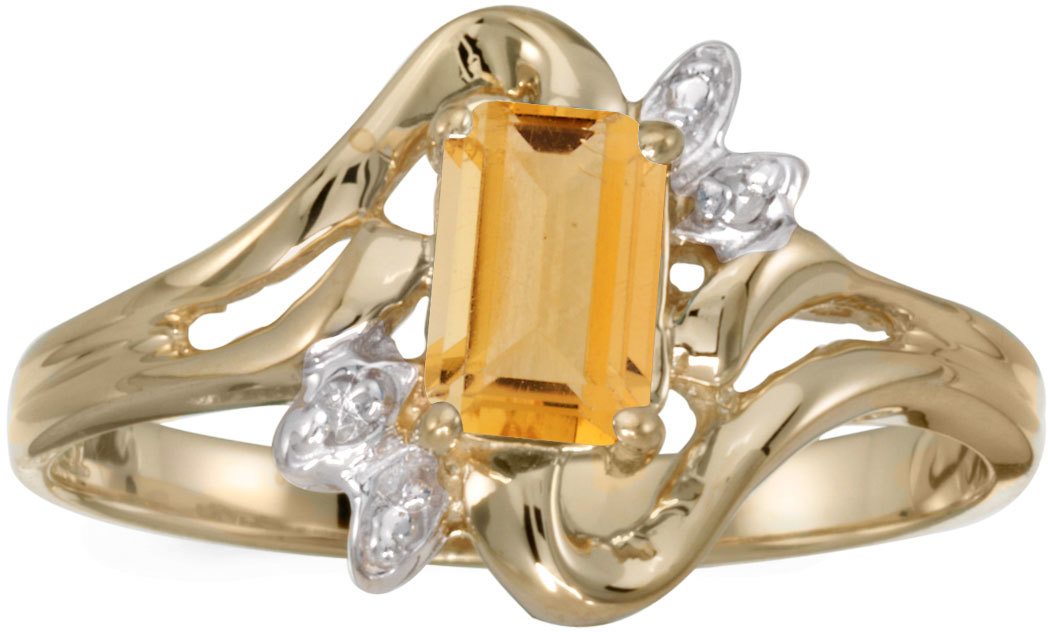10k Yellow Gold Emerald-cut Citrine And Diamond Ring (CM-RM6564-11)