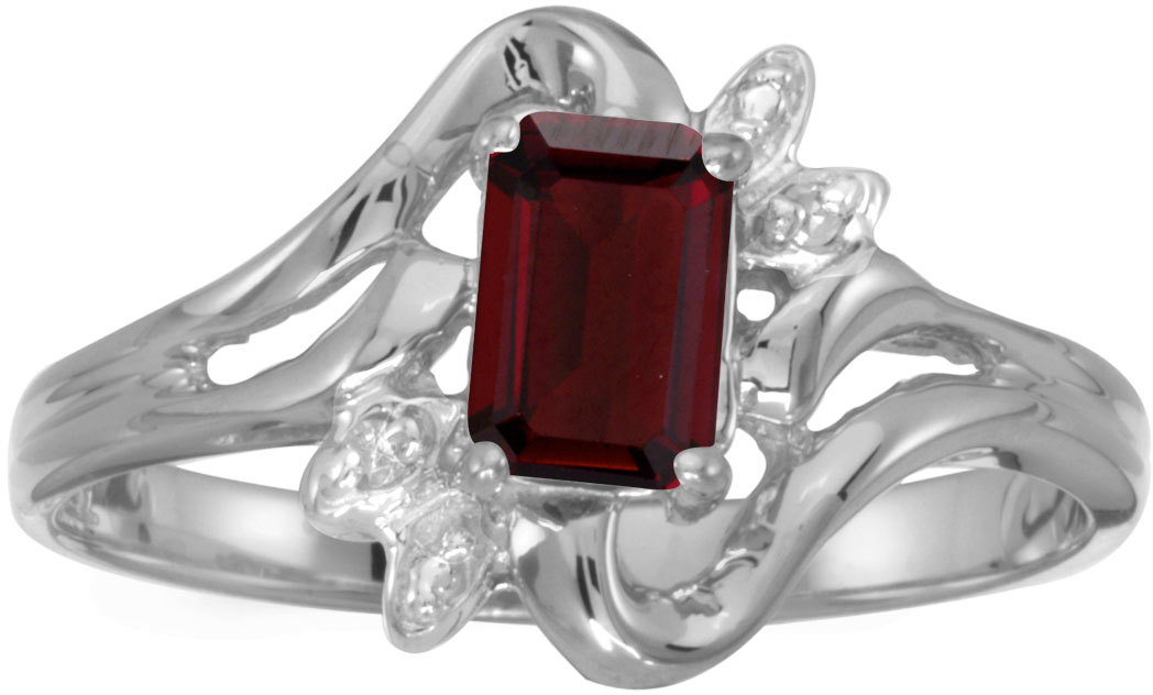 10k White Gold Emerald-cut Garnet And Diamond Ring (CM-RM6564W-01)