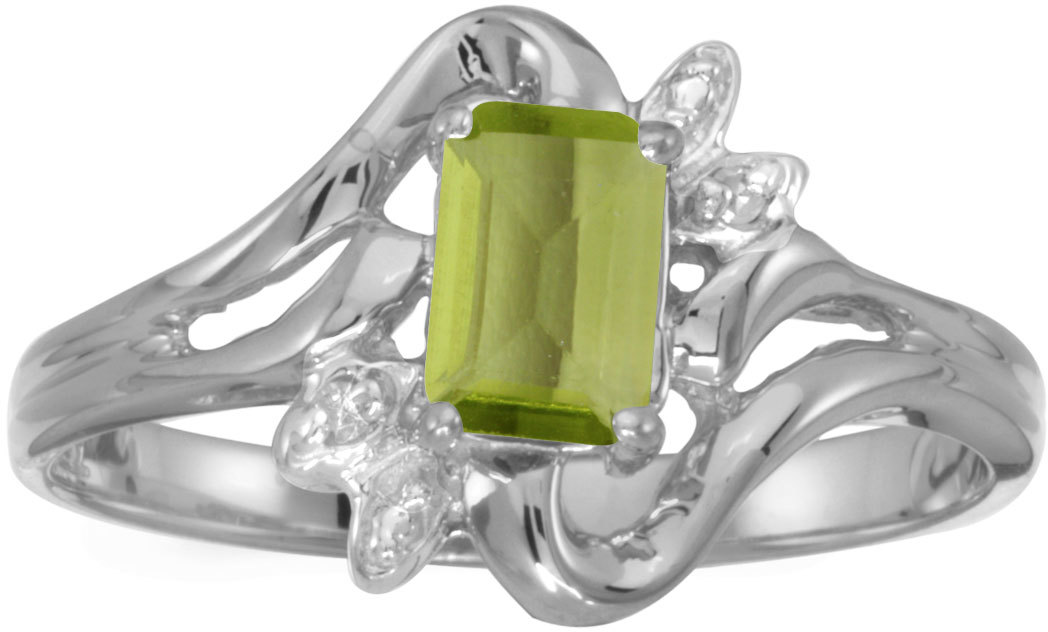 10k White Gold Emerald-cut Peridot And Diamond Ring (CM-RM6564W-08)