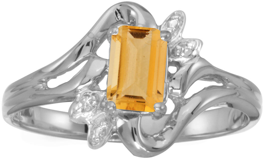 10k White Gold Emerald-cut Citrine And Diamond Ring (CM-RM6564W-11)