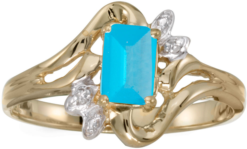 14k Yellow Gold Emerald-cut Blue Topaz And Diamond Ring (CM-RM6564X-12)