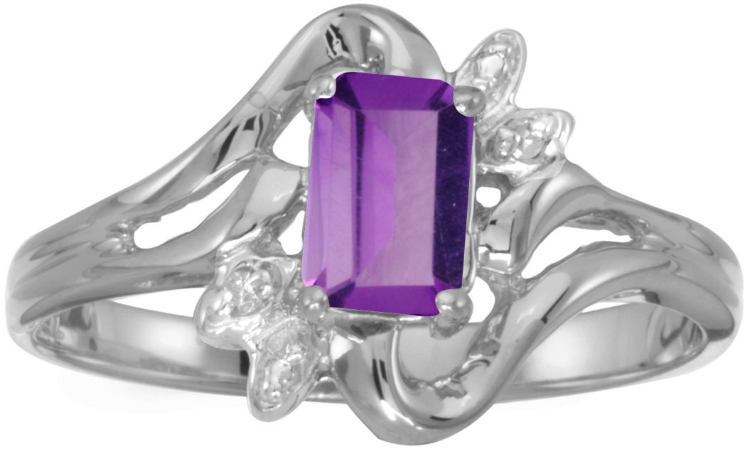 14k White Gold Emerald-cut Amethyst And Diamond Ring (CM-RM6564XW-02)