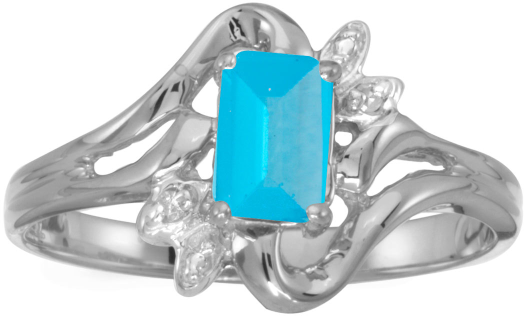 14k White Gold Emerald-cut Blue Topaz And Diamond Ring (CM-RM6564XW-12)