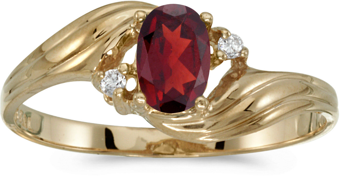 14k Yellow Gold Oval Garnet And Diamond Ring (CM-RM671X-01)