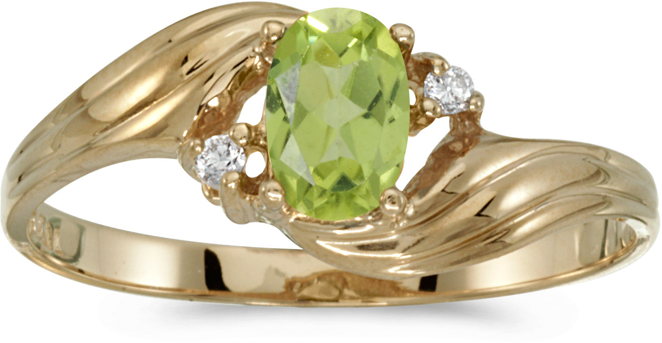 14k Yellow Gold Oval Peridot And Diamond Ring (CM-RM671X-08)