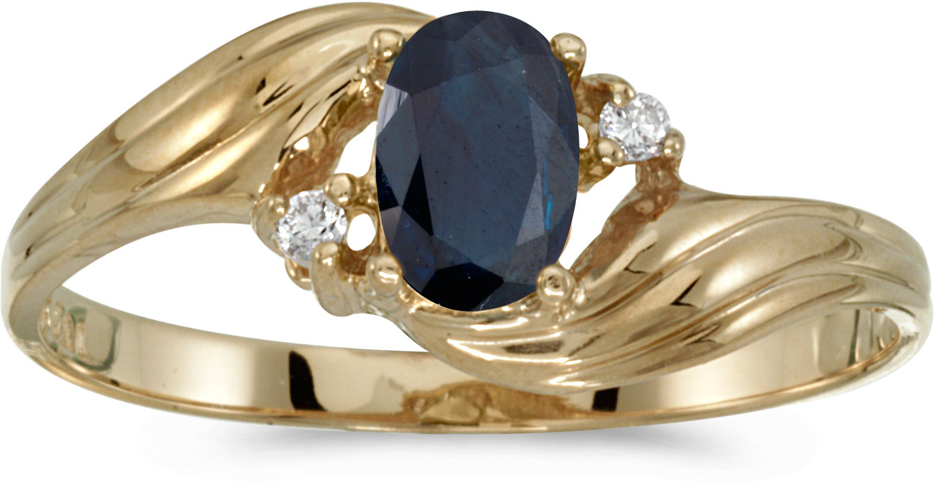 14k Yellow Gold Oval Sapphire And Diamond Ring (CM-RM671X-09)