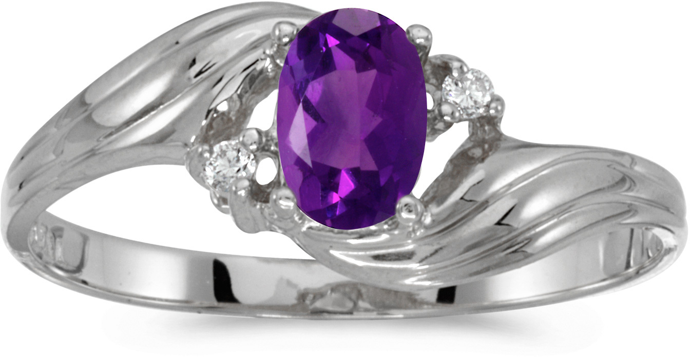 14k White Gold Oval Amethyst And Diamond Ring (CM-RM671XW-02)