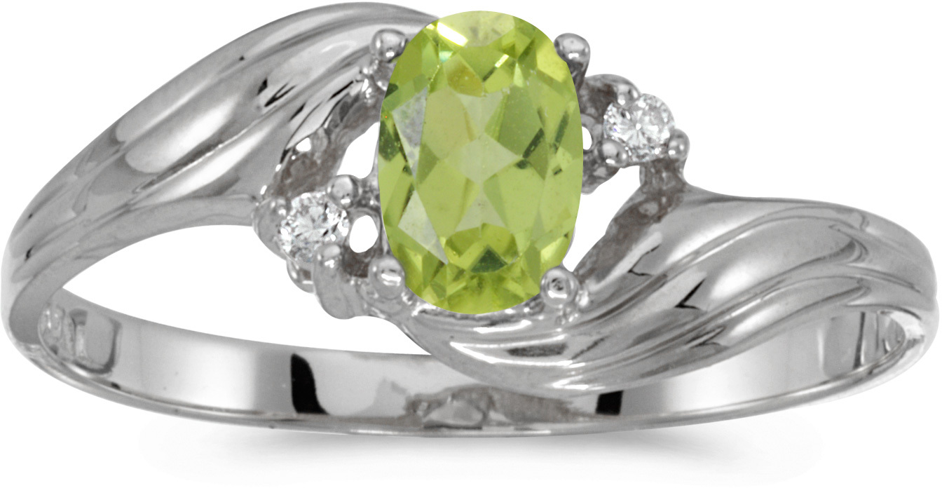 14k White Gold Oval Peridot And Diamond Ring (CM-RM671XW-08)