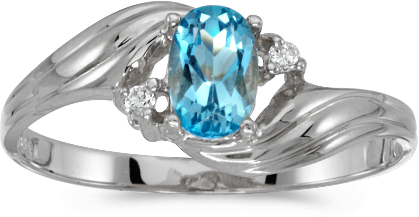 14k White Gold Oval Blue Topaz And Diamond Ring (CM-RM671XW-12)