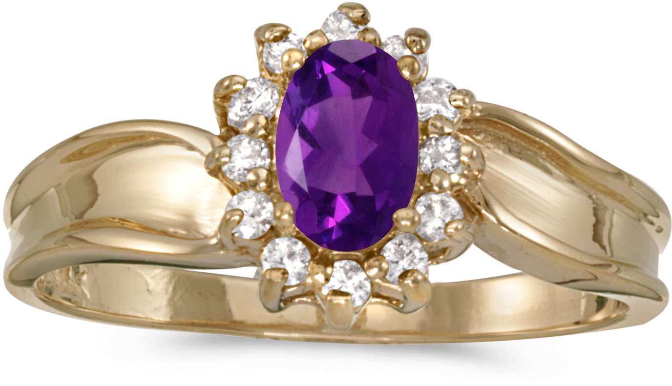 10k Yellow Gold Oval Amethyst And Diamond Ring (CM-RM804-02)