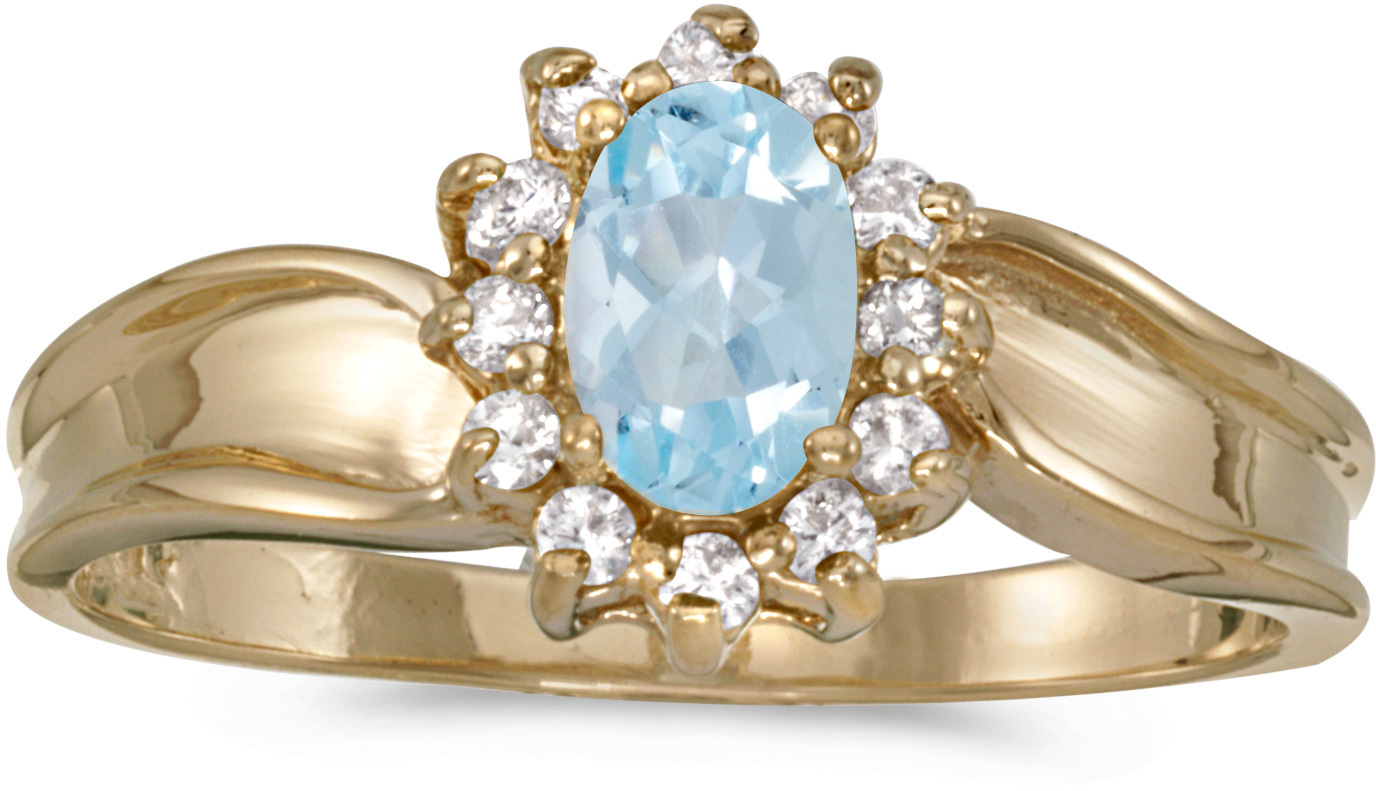 10k Yellow Gold Oval Aquamarine And Diamond Ring (CM-RM804-03)