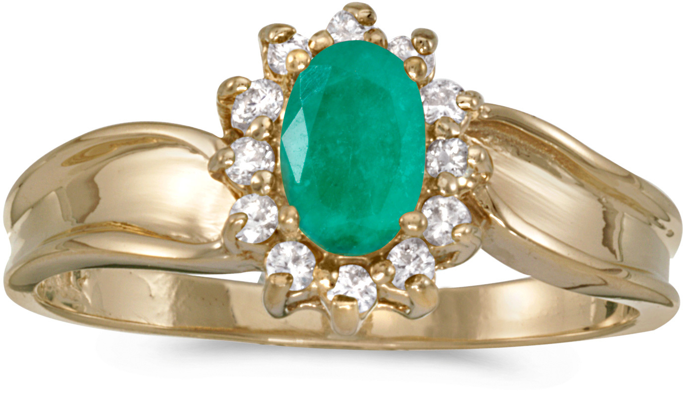 10k Yellow Gold Oval Emerald And Diamond Ring (CM-RM804-05)